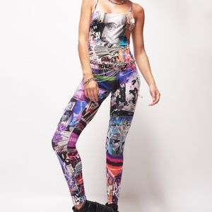 Jaded London Lips Collage Print Catsuit